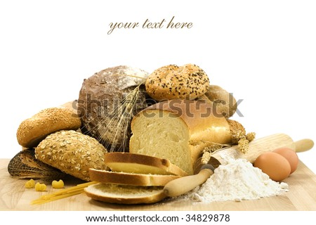 bread composition on white background (with sample text) - stock photo
