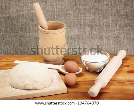 Bread cooking. Ingredients and dough - stock photo