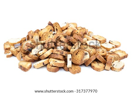 Bread crumbs isolated on white background.
