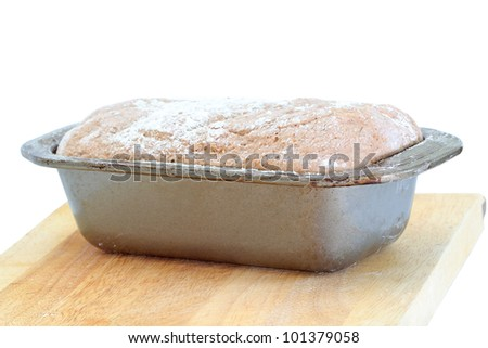 Bread Dough before being place in the oven - stock photo