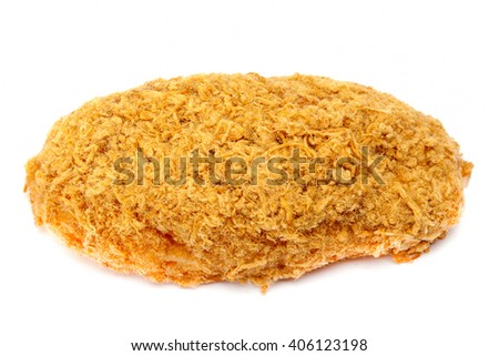 Bread dried shredded pork on white background