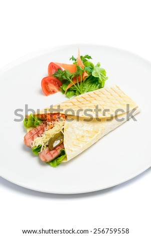 Bread envelope with sausages isolated on white - stock photo