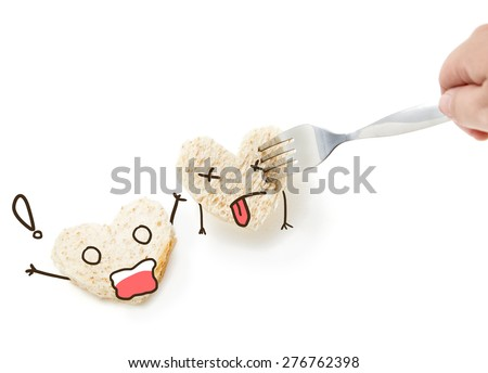 Bread Face emotion concept danger murder hurt isolated on white background  - stock photo