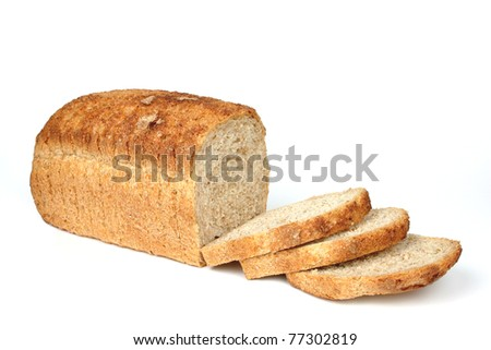 Bread from rye and wheat flour isolated on white background