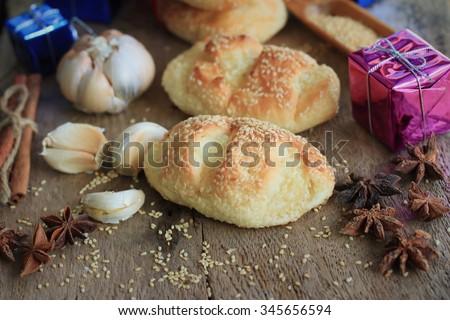 Bread garlic sesame yule - stock photo