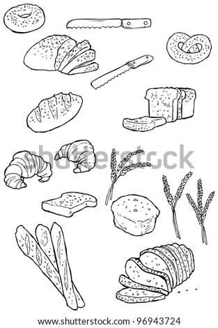 bread illustration collection (raster version) - stock photo