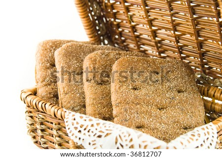 bread in a straw basket