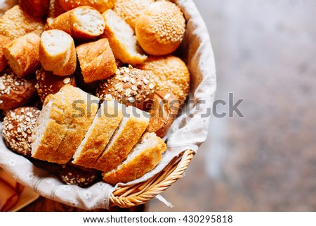 Bread in basket,  homemade cooking made from whole wheat and grains
