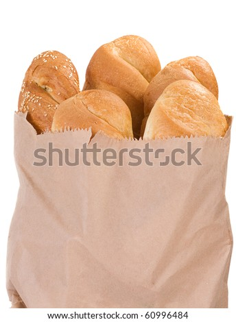 bread in paper packet on white