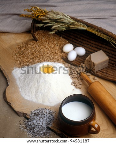 Bread ingredients - stock photo