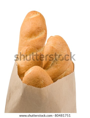 bread isolated in paper bag on white