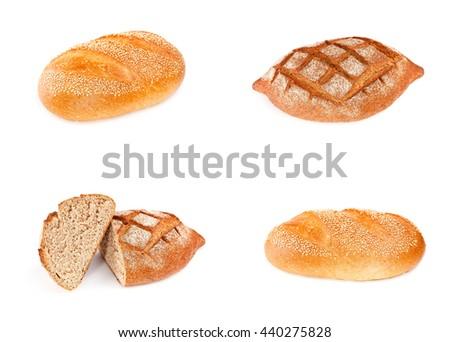 Bread isolated on white background. Set. - stock photo