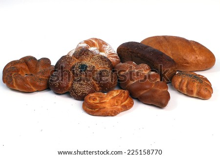 bread isolation on the white background - stock photo