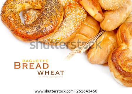 Bread, loaf, baguette, bagel, wheat on a white background - stock photo