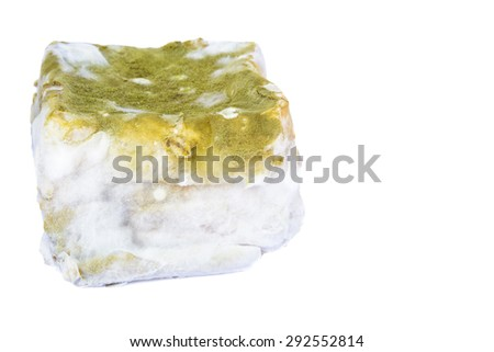 Bread moldy isolated on white background. clipping path in picture. - stock photo