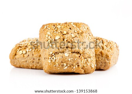 Bread on a white background. delicious buns isolated on white - stock photo