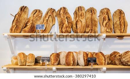 bread on the shelves - stock photo