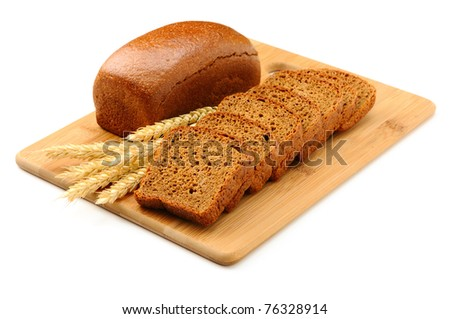 bread on the wooden board isolated on white - stock photo