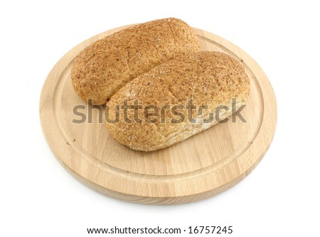 bread on wooden plate