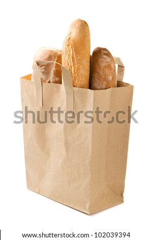 Bread packaged in a paper bag isolated on the white - stock photo
