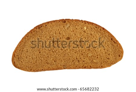 Bread piece closeup. Isolated on white.
