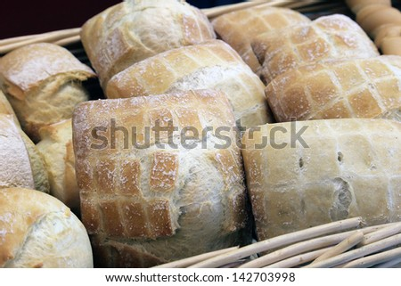 bread pizza baked goods made with wheat flour baker sweet typical product of Italian culinary Tuscan bread - stock photo