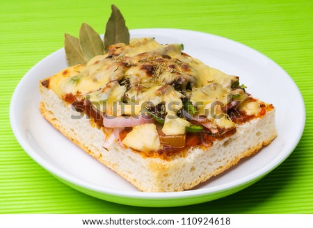 bread pizza topping on white background. - stock photo