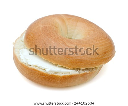 Bread plain Bagel with cream cheese - stock photo