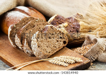 Bread rye spikelets - stock photo