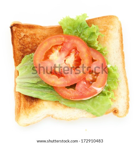 bread sandwich with tomato on white background