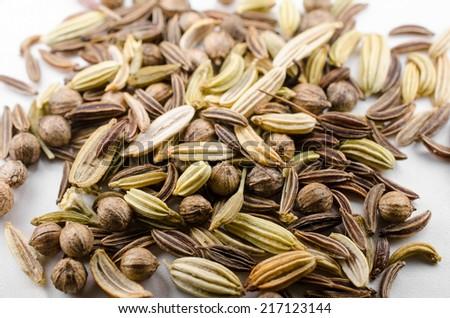 bread seasonings close-up (fennel, coriander,caraway) - stock photo