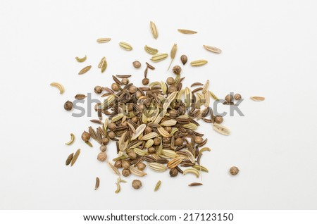 bread seasonings from above - stock photo