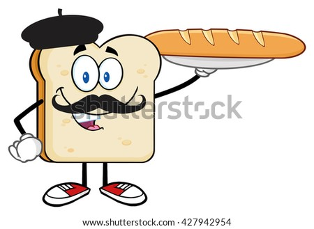 Bread Slice Cartoon Character With Barett And Mustache Presenting Perfect French Bread Baguette. Raster Illustration Isolated On White Background - stock photo