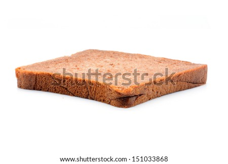 Bread slice isolated on white - stock photo