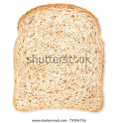 Bread slice isolated on white, clipping path included - stock photo