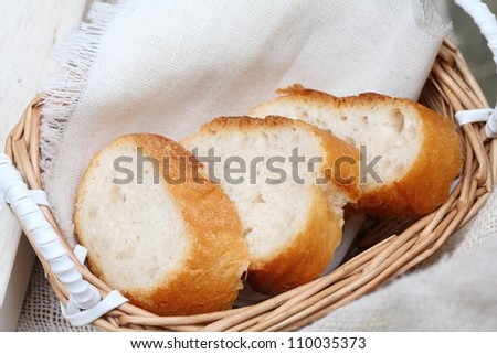 bread sliced and decorated in basket.