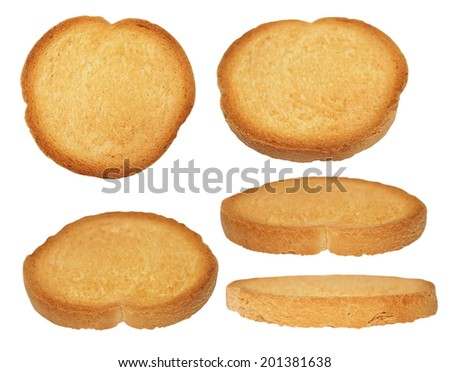 bread sliced isolated, whole wheat dry rusk bread, wholemeal bread isolated on white background (high resolution) - stock photo