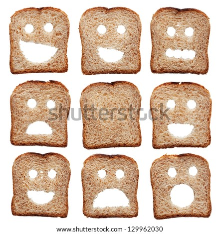 Bread slices with facial expressions - isolated on white - stock photo