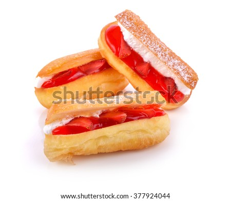 Bread Strawberry cream filling isolated on white background .