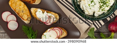 Bread toasts with white cheese and radishes. Panoramic image. Selective focus. - stock photo