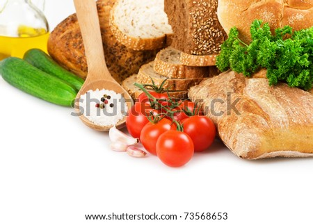 Bread, vegetables and spices - stock photo