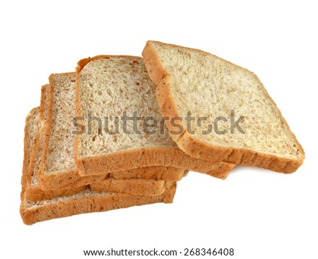 Bread wheat squares white background.