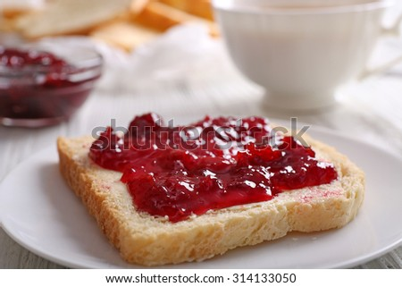 Bread with butter and homemade jam