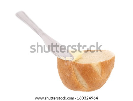 Bread with butter. Isolated on a white background - stock photo