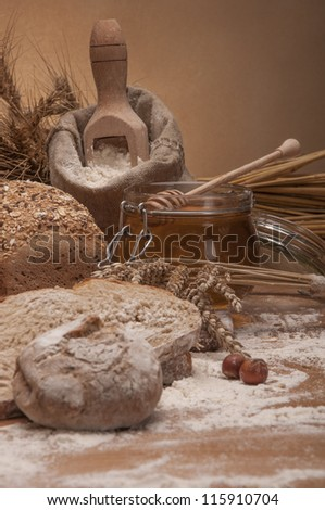 Bread with cereals and vegetables