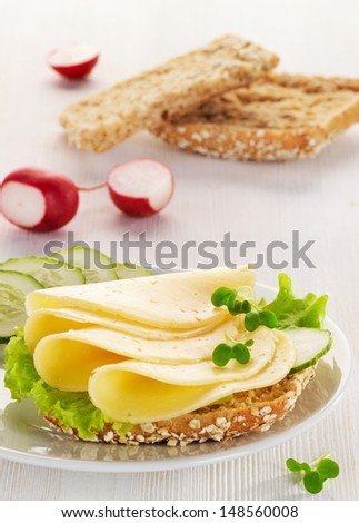 bread with cheese and vegetables - stock photo