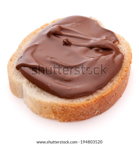 Bread with chocolate cream isolated on white background cutout - stock photo