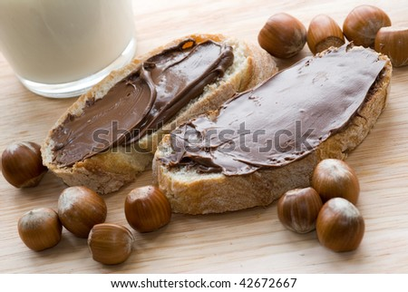 Bread with chocolate spread - stock photo