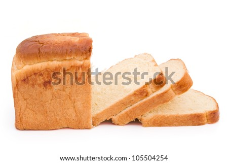 bread with clipping path, with some slices - stock photo