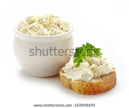 bread with fresh cream cheese - stock photo